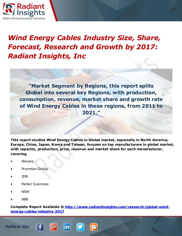 Wind Energy Cables Industry Size, Share, Forecast, Research 2017 Wind Energy Cables Industry Size, Share 2017