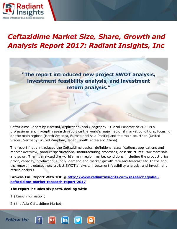 Ceftazidime Market Size, Share, Growth and Analysis Report 2017 Ceftazidime Market Size, Share, Growth 2017