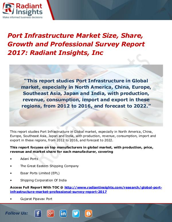 Port Infrastructure Market Size, Share, Growth 2017 Port Infrastructure Market Size, Share, Growth2017