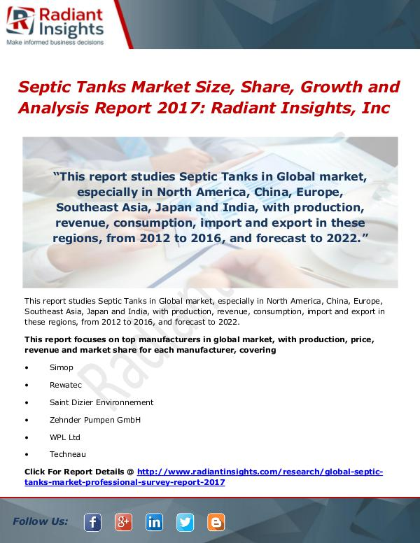 Septic Tanks Market Size, Share, Growth and Analysis Report 2017 Septic Tanks Market Size, Share, Growth 2017