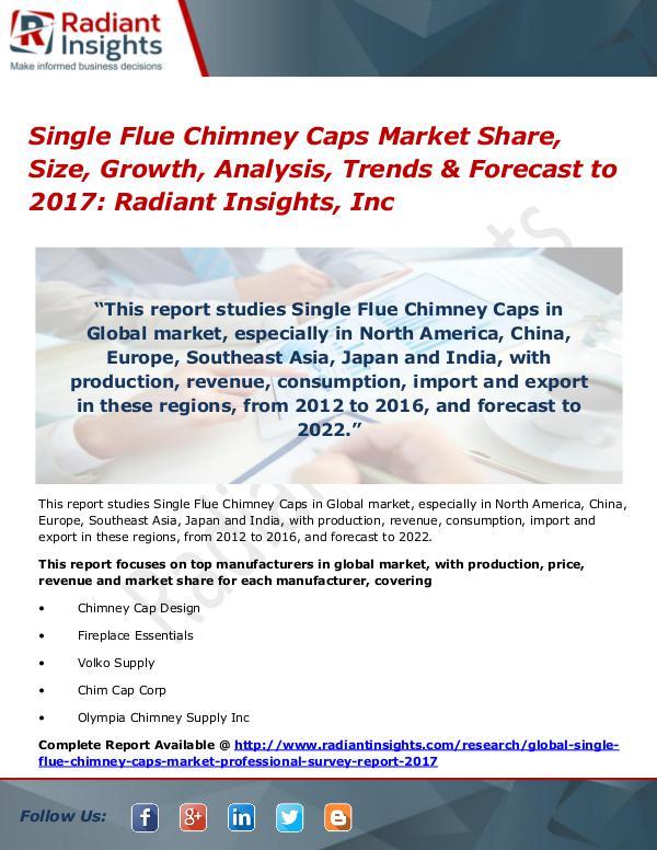 Single Flue Chimney Caps Market Share, Size, Growth, Analysis 2017 Single Flue Chimney Caps Market Share, Size 2017