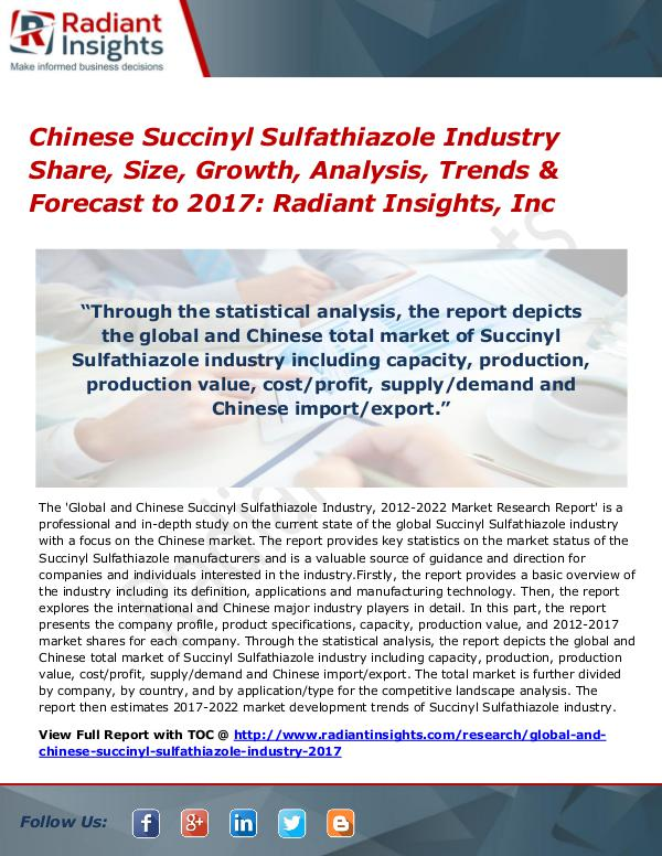 Chinese Succinyl Sulfathiazole Industry Share, Size, Growth by 2017 Chinese Succinyl Sulfathiazole Industry Share 2017