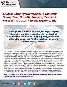 Chinese Succinyl Sulfathiazole Industry Share, Size, Growth by 2017