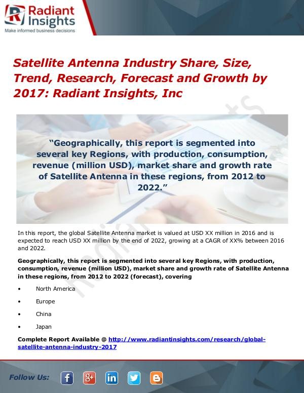 Satellite Antenna Industry Share, Size, Trend, Research, Forecast2017 Satellite Antenna Industry Share, Size, Trend 2017