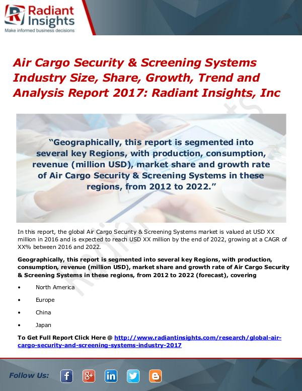 Air Cargo Security & Screening Systems Industry Size, Share 2017 Air Cargo Security & Screening Systems Industry
