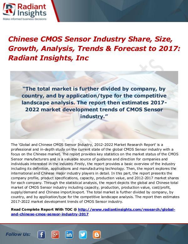 Chinese CMOS Sensor Industry Share, Size, Growth, Analysis 2017 Chinese CMOS Sensor Industry Share, Size 2017