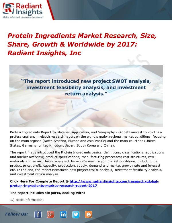 Protein Ingredients Market Research, Size, Share, Growth 2017 Protein Ingredients Market Research, Size 2017