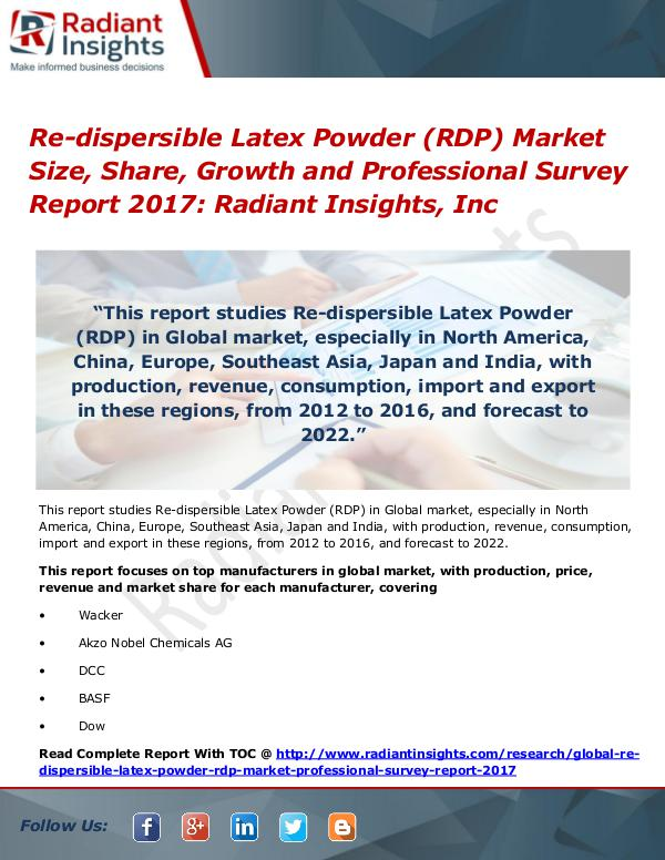 Re-dispersible Latex Powder (RDP) Market Size, Share, Growth 2017 Re-dispersible Latex Powder (RDP) Market Size 2017