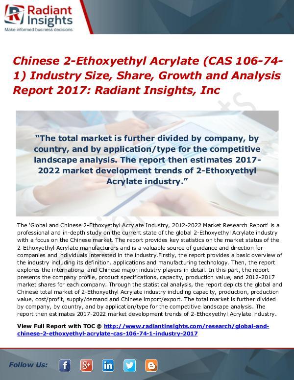 Chinese 2-Ethoxyethyl Acrylate (CAS 106-74-1) Industry Size 2017 Chinese 2-Ethoxyethyl Acrylate (CAS 106-74-1) Indu