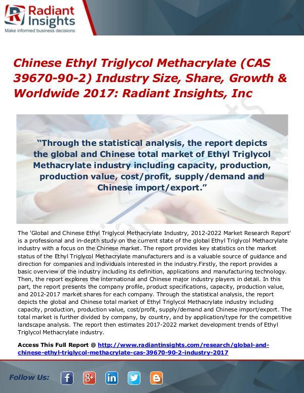 Chinese Ethyl Triglycol Methacrylate (CAS 39670-90-2) Industry 2017 Chinese Ethyl Triglycol Methacrylate Industry 2017