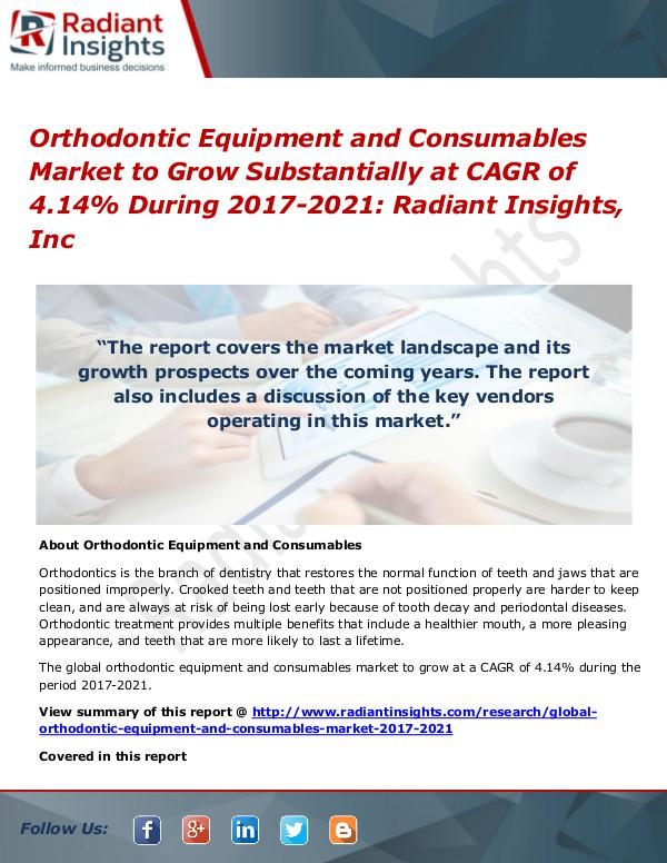 Orthodontic Equipment and Consumables Market 2021 Orthodontic Equipment and Consumables Market 2021