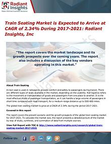 Train Seating Market is Expected to Arrive at CAGR of 2.34% till 2021