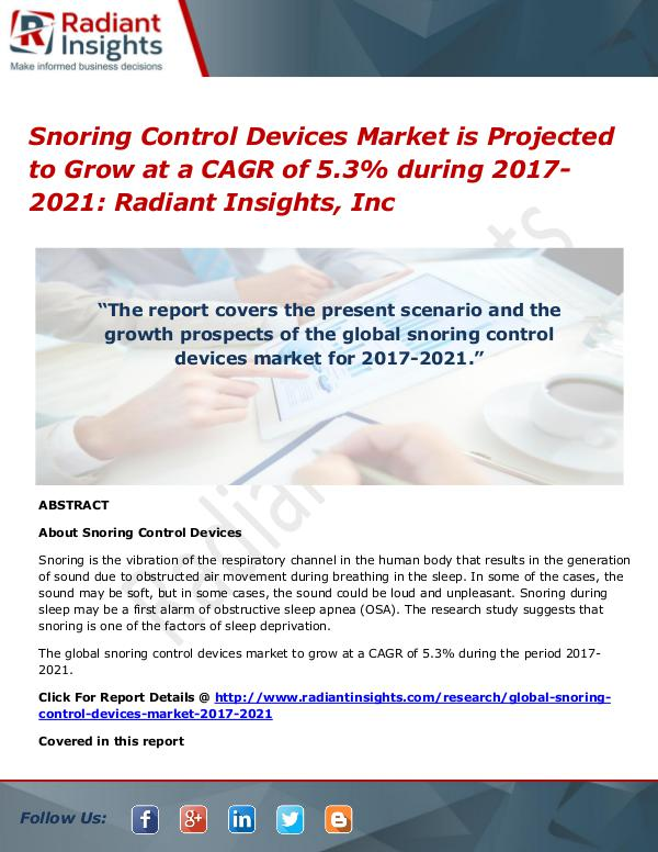 Snoring Control Devices Market is Projected to Grow at a CAGR of 5.3% Snoring Control Devices Market 2021