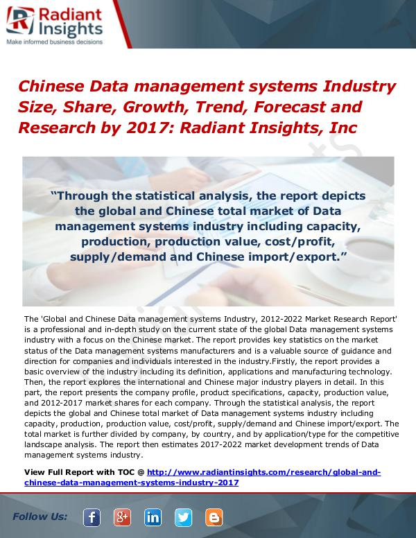 Chinese Data management systems Industry Size, Share, Growth 2017 Chinese Data management systems Industry Size 2017