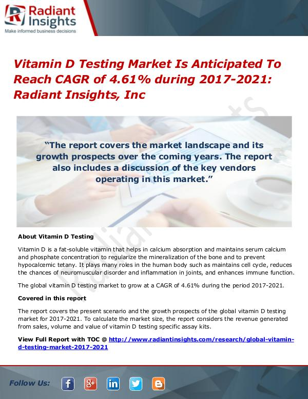 Vitamin D Testing Market Is Anticipated To Reach CAGR of 4.61% Vitamin D Testing Market 2021