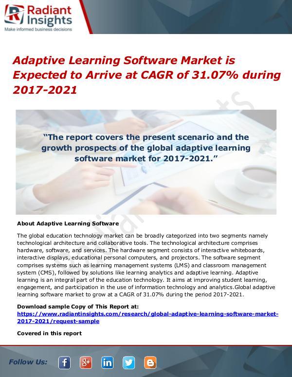 Adaptive Learning Software Market 2017 to 2021 Adaptive Learning Software Market is Expected to A