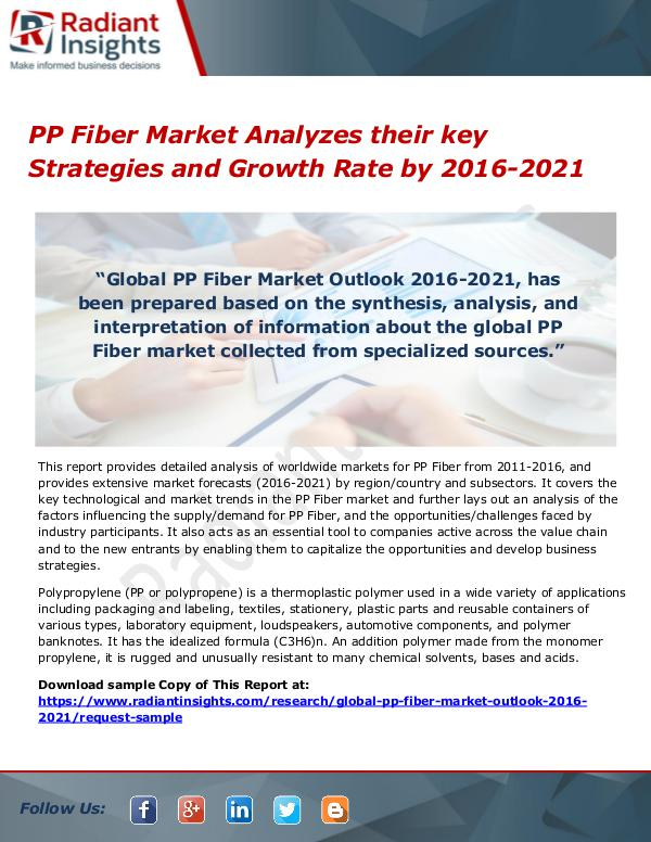 PP Fiber Market Analyzes their key Strategies and Growth Rate by 2016 PP Fiber Market Analyzes their key Strategies and