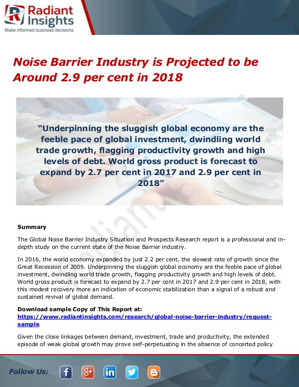 Noise Barrier Industry is Projected to be Around 2.9 per cent in 2018 Noise Barrier Industry is Projected to be Around 2