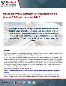 Noise Barrier Industry is Projected to be Around 2.9 per cent in 2018