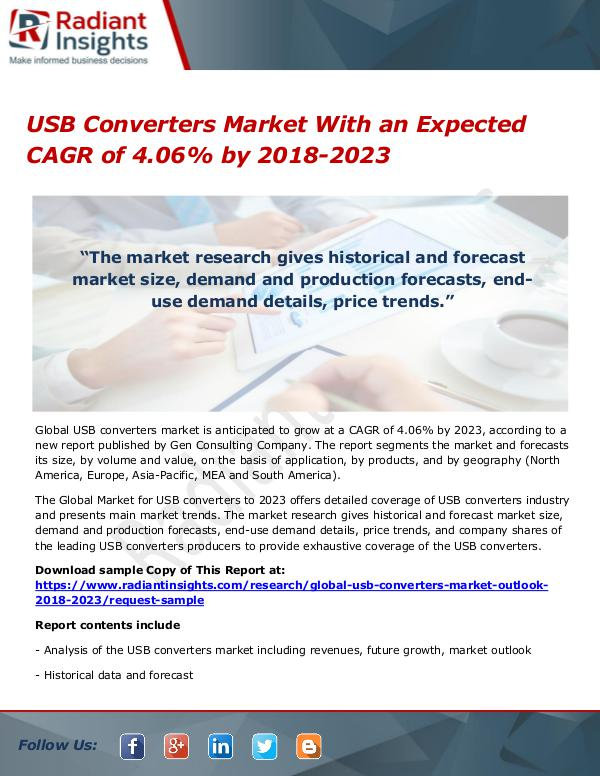 USB Converters Market With an Expected CAGR of 4.06% by 2018-2023 USB Converters Market With an Expected CAGR of 4.0