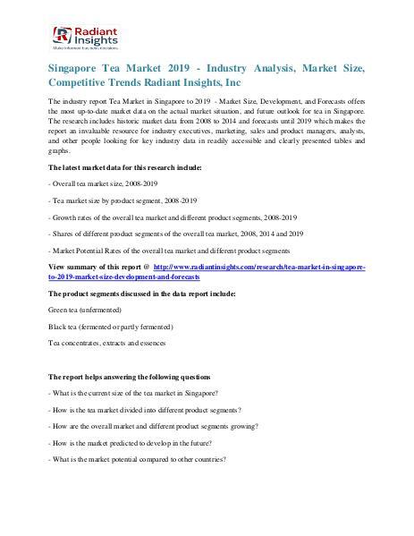 Singapore Tea Market Growth and Research Report 2019 Singapore Tea Market 2019