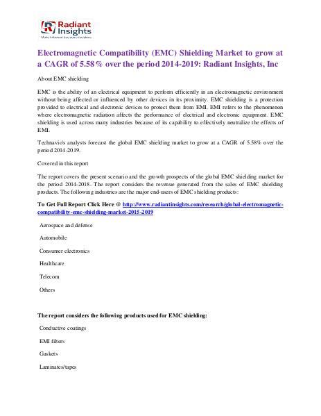 Electromagnetic Compatibility (EMC) Shielding Market 2014-2019 Electromagnetic Compatibility (EMC) Shielding Mark