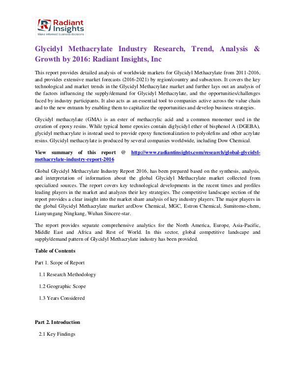Glycidyl Methacrylate Industry Research, Trend, Analysis & Growth2016 Glycidyl Methacrylate Industry 2016