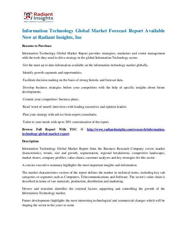 Information Technology Market Forecast Report Information Technology Market