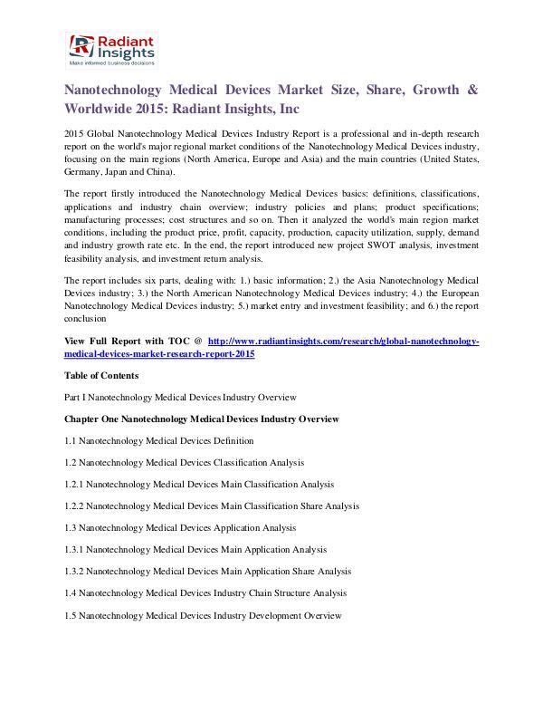 Nanotechnology Medical Devices Market Size, Share, Growth & Worldwide Nanotechnology Medical Devices Market 2015