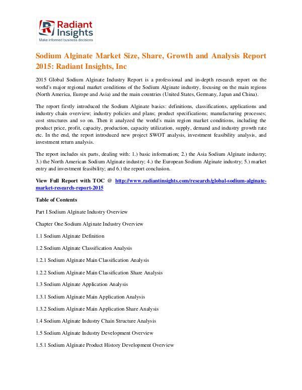 Sodium Alginate Market Size, Share, Growth and Analysis Report 2015 Sodium Alginate Market 2015