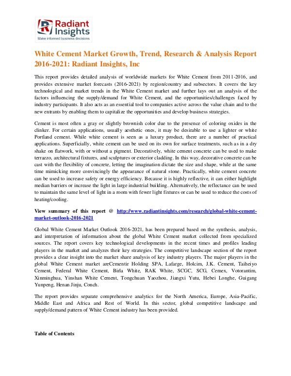 White Cement Market Growth, Trend, Research & Analysis Report 2016 White Cement Market 2021