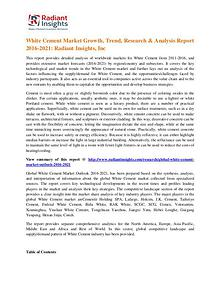 White Cement Market Growth, Trend, Research & Analysis Report 2016