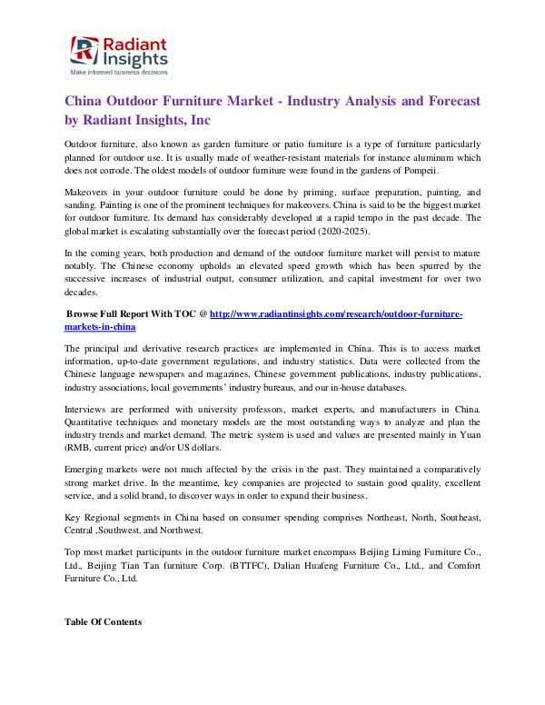 China Outdoor Furniture Market China Outdoor Furniture Market