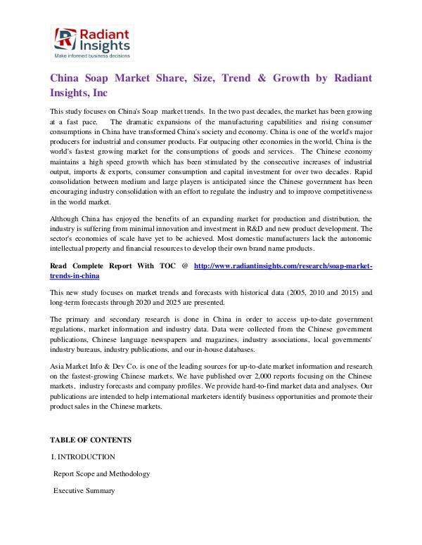 China Soap Market Share, Size, Trend & Growth by Radiant Insights China Soap Market