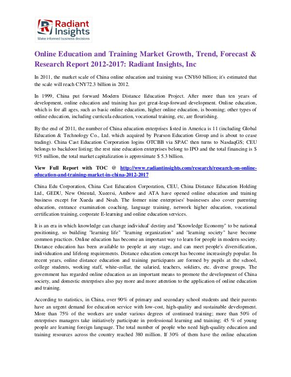 Online Education and Training Market Growth, Trend, Forecast 2017 Online Education and Training Market 2017