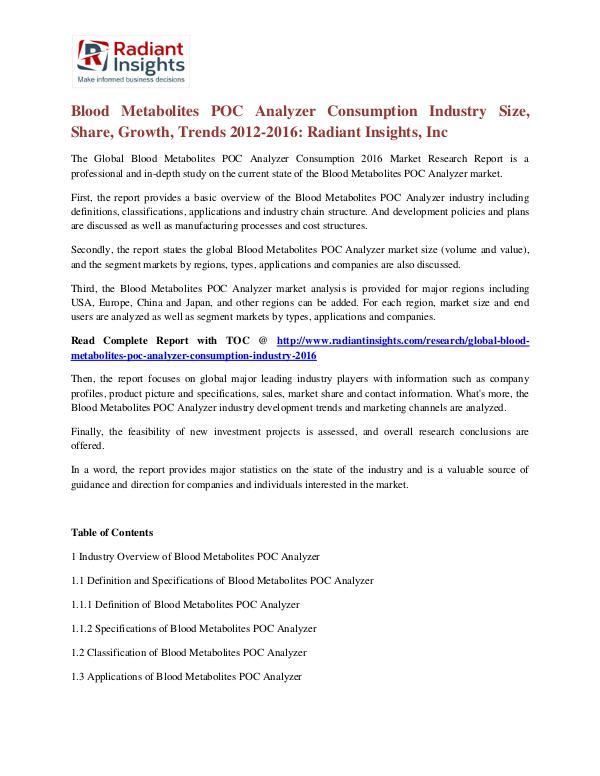 Blood Metabolites POC Analyzer Consumption Industry Size, Share 2016 Blood Metabolites POC Analyzer Consumption Industr