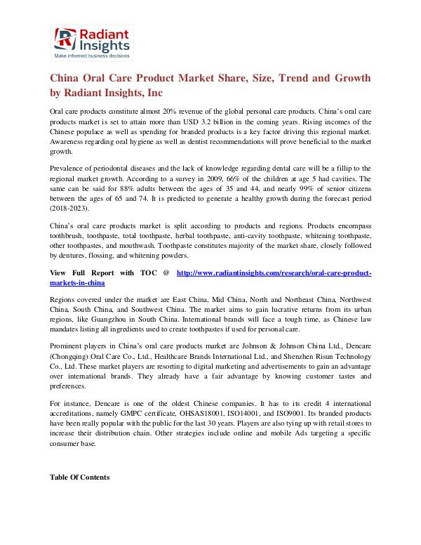 China Oral Care Product Market Share, Size, Trend and Growth China Oral Care Product Market