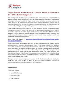 Copper Powder Market Growth, Analysis, Trends & Forecast to 2016-2021
