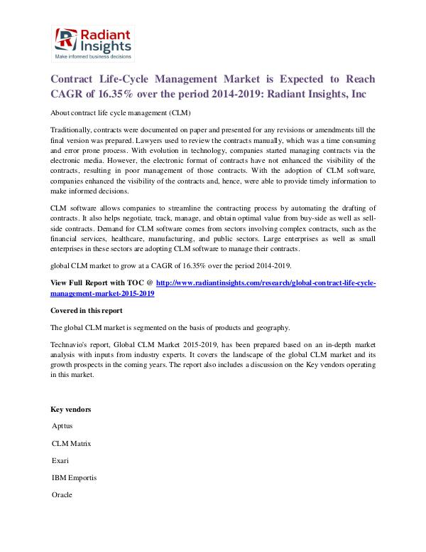 Contract Life-Cycle Management Market 2019 Contract Life-Cycle Management Market 2019