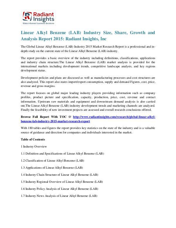 Linear Alkyl Benzene (LAB) Industry Size, Share, Growth 2015 Linear Alkyl Benzene (LAB) Industry 2015