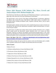 Linear Alkyl Benzene (LAB) Industry Size, Share, Growth 2015