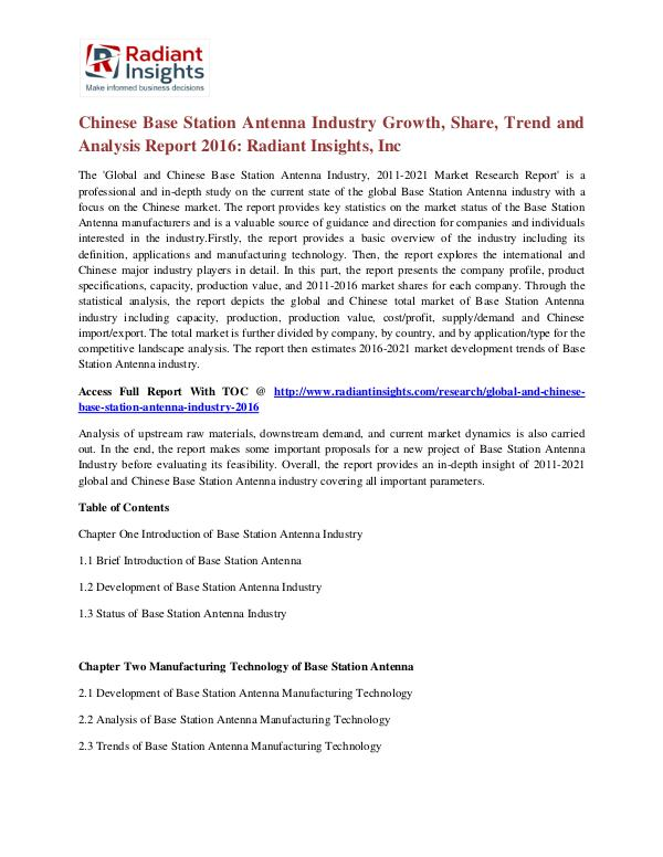 Chinese Base Station Antenna Industry Growth, Share, Trend 2016 Base Station Antenna Industry 2016