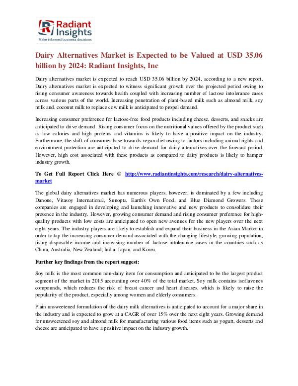 Dairy Alternatives Market is Expected to Be Valued at USD 35.06 Dairy Alternatives Market 2024