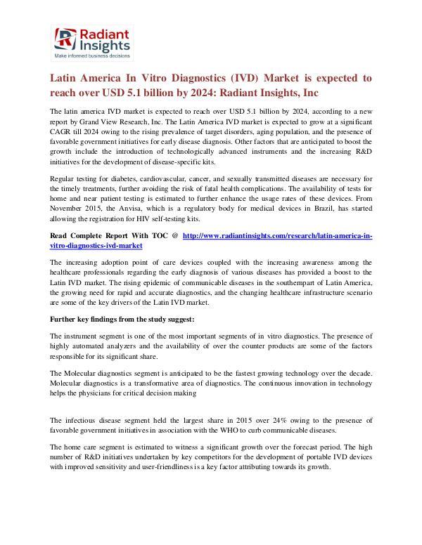 Latin America in Vitro Diagnostics (IVD) Market 2024 The latin america IVD market is expected to  2024