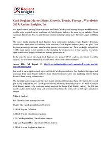 Cash Register Market Share, Growth, Trends, Forecast, Worldwide 2015