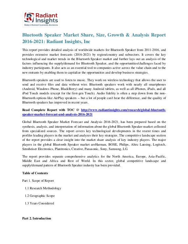 Bluetooth Speaker Market Share, Size, Growth & Analysis Report 2021 Bluetooth Speaker Market 2016-2021