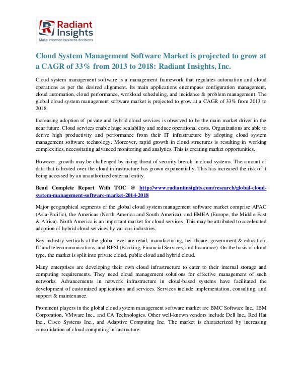 Cloud System Management Software Market is Projected to Grow at 2018 Cloud System Management Software Market 2018