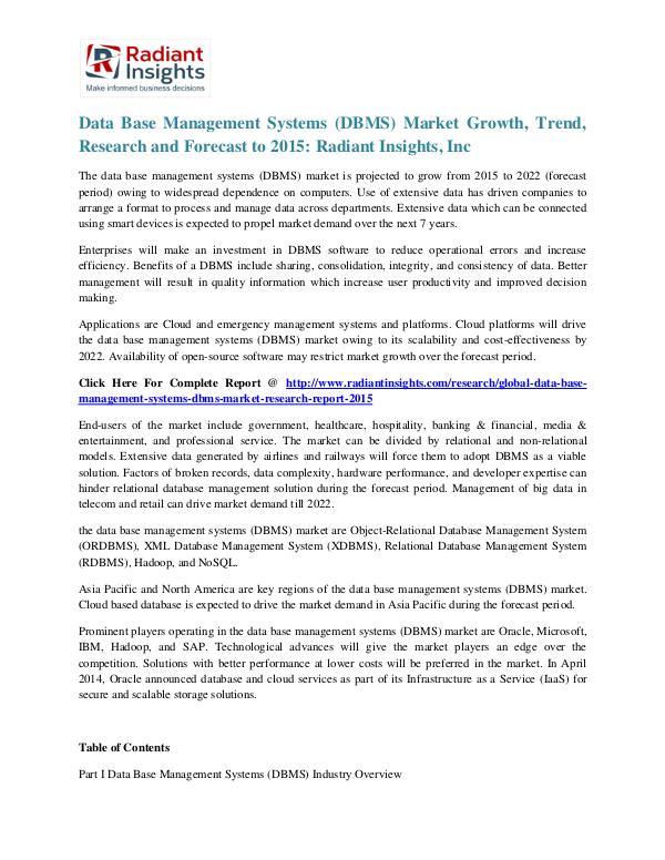 Data Base Management Systems (DBMS) Market Trend, Research 2020 Data Base Management Systems (DBMS) Market 2015