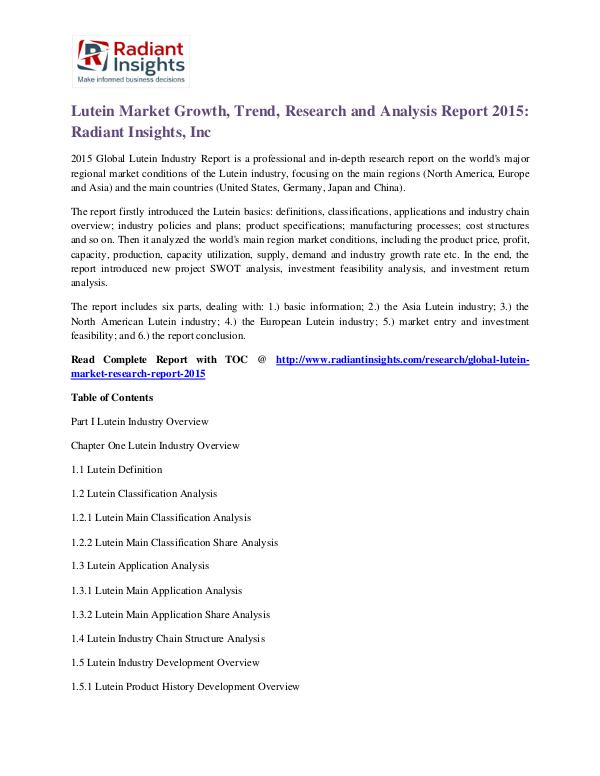 Lutein Market Growth, Trend, Research and Analysis Report 2015 Lutein Market 2015