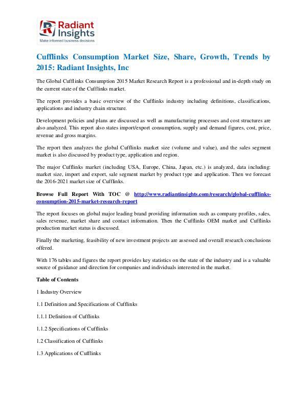 Cufflinks Consumption Market Size, Share, Growth, Trends by 2015 Cufflinks Consumption Market 2015